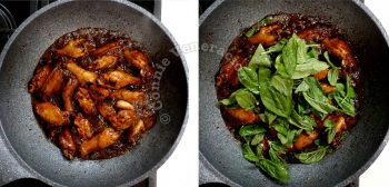 Taiwanese three-cup chicken (san bei ji) recipe, step 3: add Thai basil