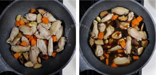 Chinese Braised Chicken Wings and Shiitake Recipe, step 2: add chicken wings and seasonings