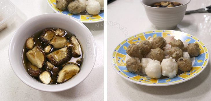Ingredients for making Oden (Japanese Fish Cake Soup/Stew): Shiitake and various fish balls