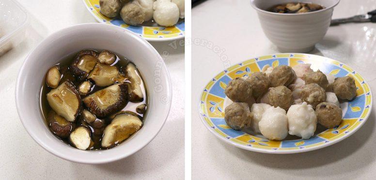 Ingredients for making Oden (Japanese Fish Cake Soup/Stew): Shiitake and various fish balls