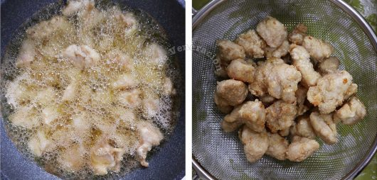 How to cook Taiwanese popcorn chicken, step 2: Fry the chicken over medium heat