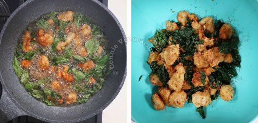 How to cook Taiwanese popcorn chicken, step 3: Fry the chicken a second time over high heat and add Thai basil leaves during the last minute of cooking