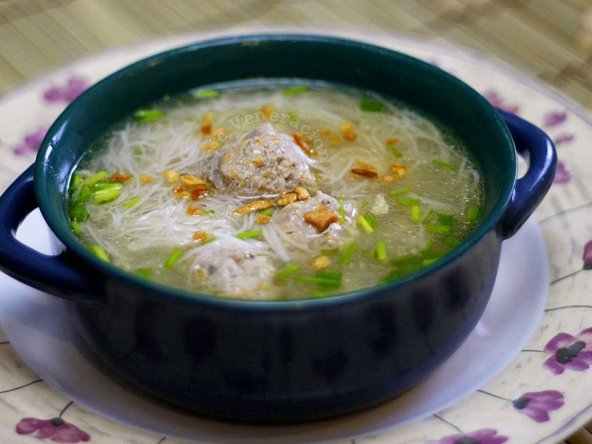 Filipino almondigas (meatball and misua soup)