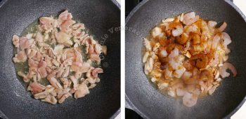 Chicken and Shrimp Chow Mein Recipe, Step 1: Stir fry the chicken and shrimps