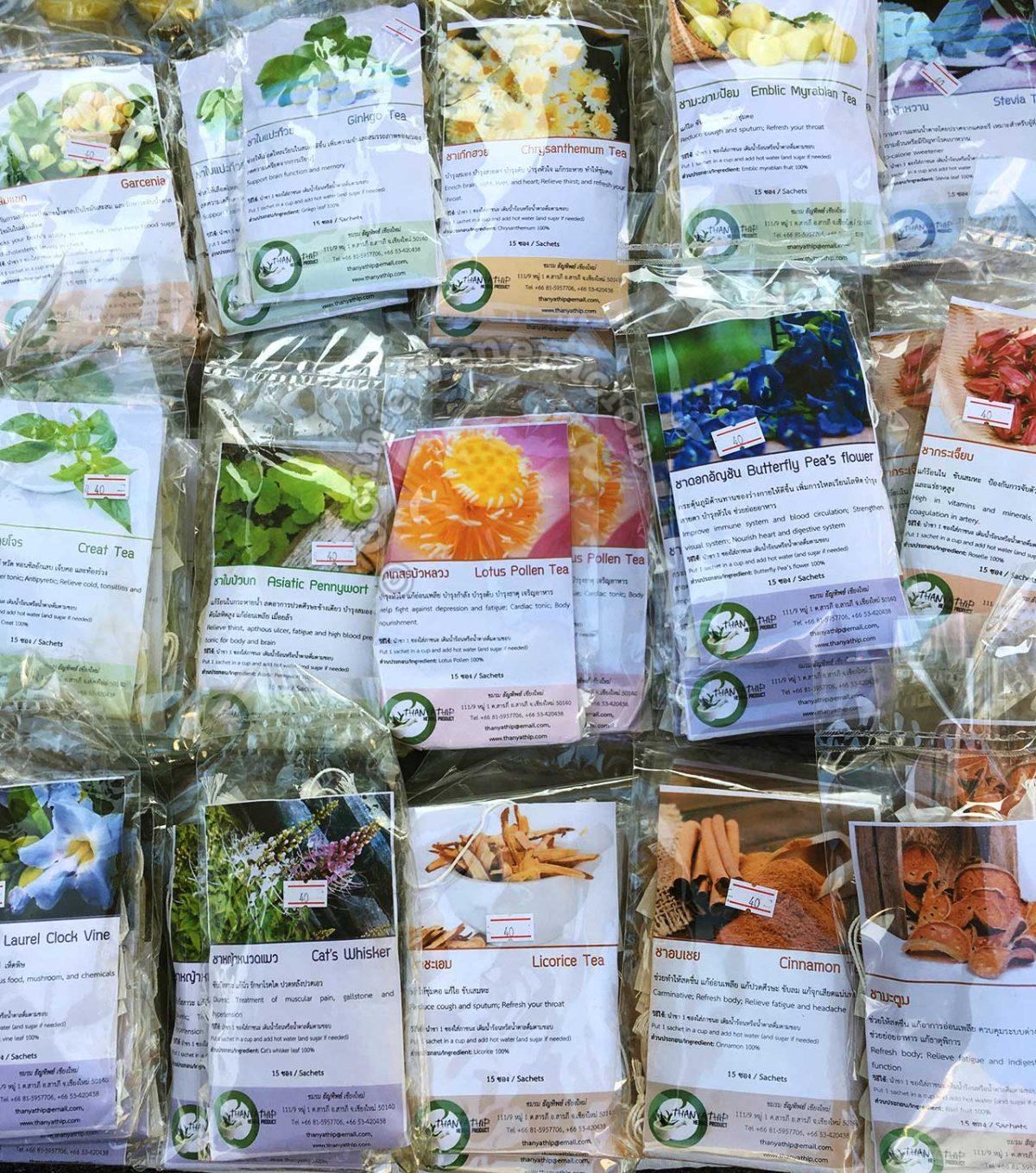 Dried flowers, barks, seeds and roots for herbal brews