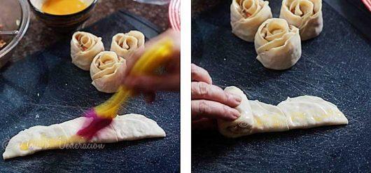 How to seal rose dumplings