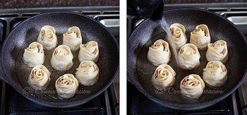 Cooking rose dumplings in oil and water
