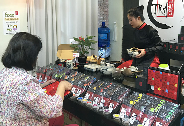 Sampling teas in Hanoi