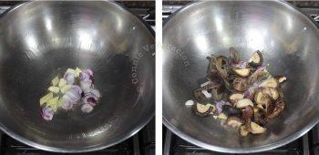 sauteeing sea cucumbers and shiitake in wok