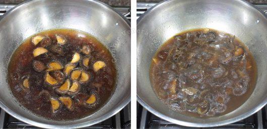 Braising sea cucumbers and shiitake in wok