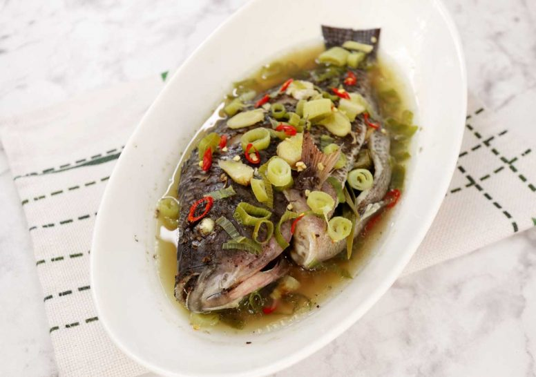 Steamed Whole Tilapia with Ginger, Scallions and Chilies