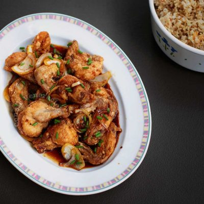 Sweet Chili Soy Sauce Chicken in Platter with Rice on the Side