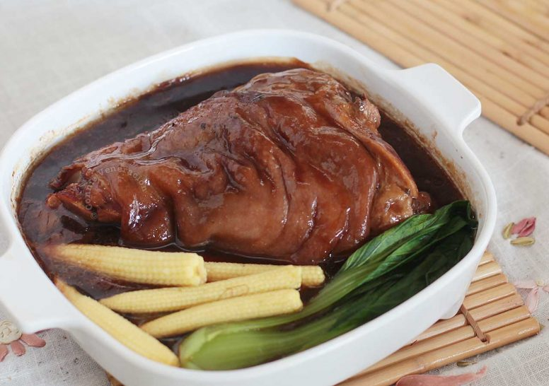 Chinese-style Braised Pork Leg with Baby Corn and Bok Choy