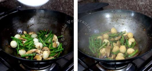 Stir frying yard-long beans, mushrooms and quail eggs with chicken liver