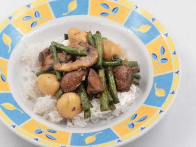 Chicken liver stir fry with string beans, mushrooms and quail eggs