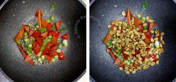 Stir frying vegetables for kung pao chicken
