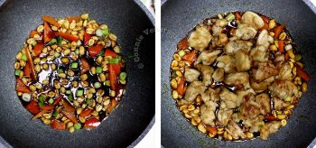 Cooking kung pao chicken in a wok
