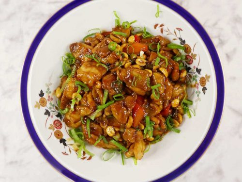 Kung pao chicken in serving bowl