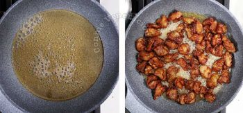 Orange Chicken Recipe: Coating fried battered chicken with orange sauce