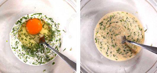 Stirring an egg into oyster omelette batter