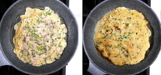 Frying oyster omelette on both sides