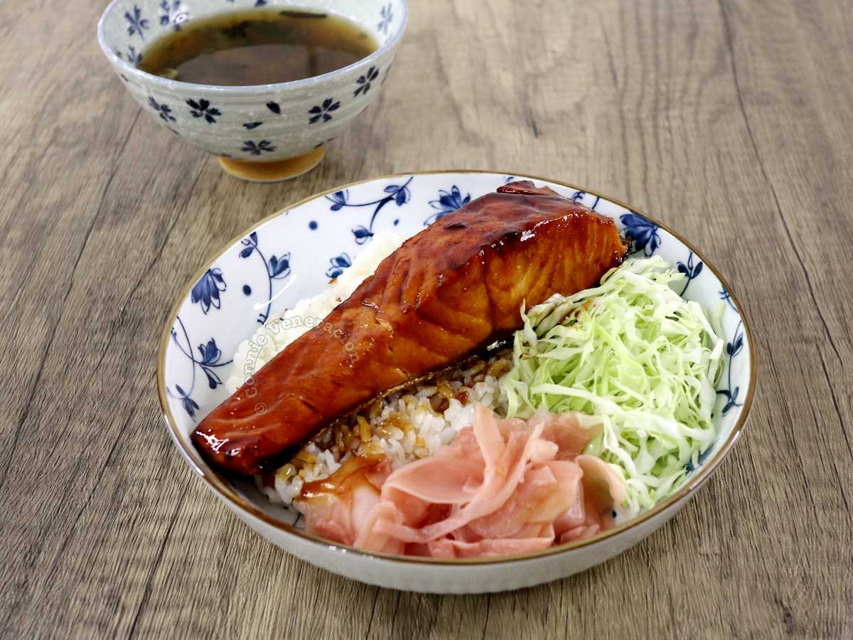 Salmon teriyaki with rice, shredded cabbage, pickled ginger and miso soup