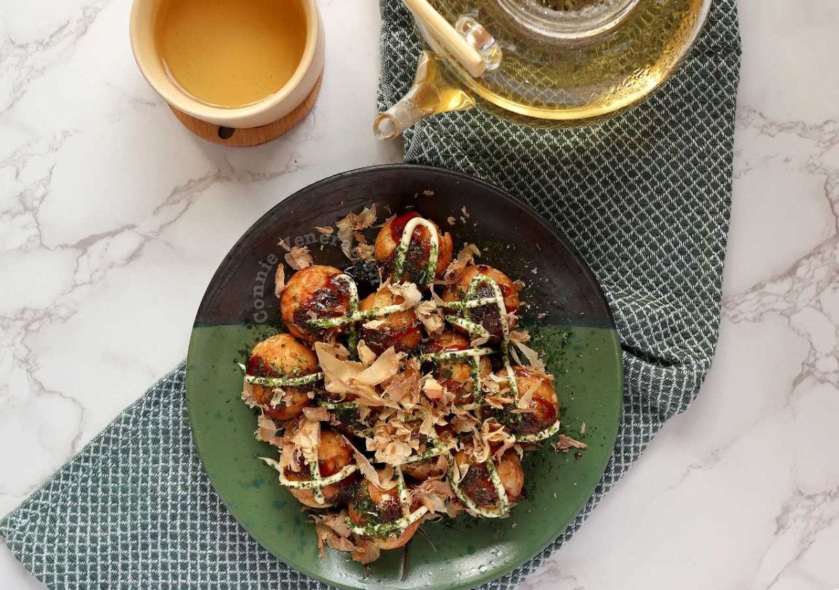 Home cooked takoyaki served with genmaicha
