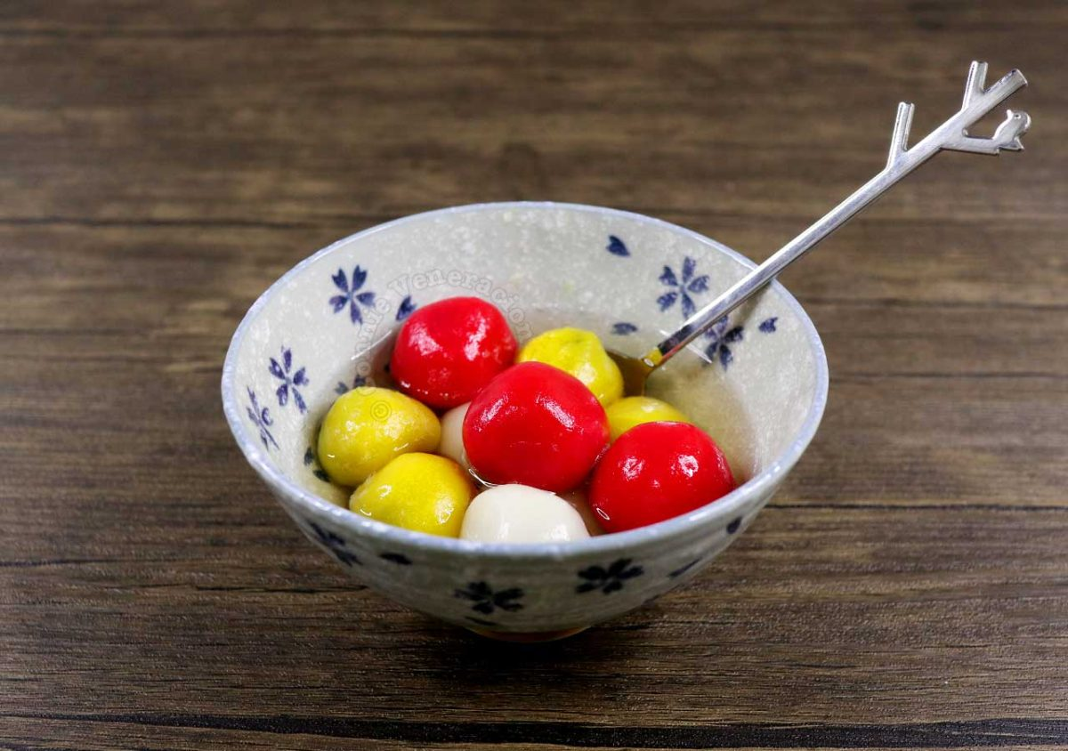 Tang Yuan (Glutinous Rice Balls with Red Bean Paste Filling) in Round Bowl