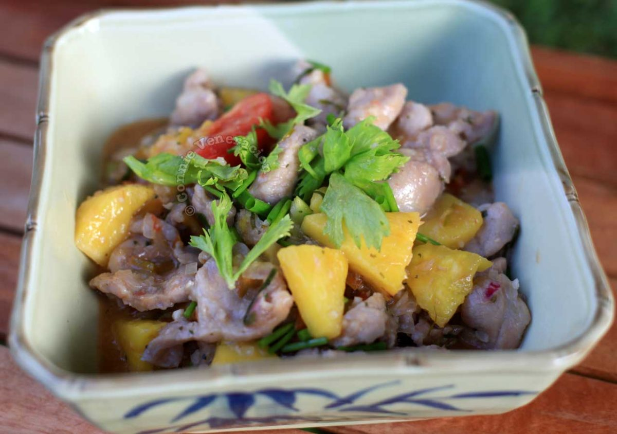 Vietnamese Pork and Pineapple Stir Fry (Muc Xao Khom) in Serving Bowl