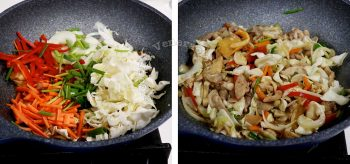 Adding vegetables and mushrooms to chicken in wok