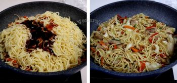 Adding noodles to chicken and vegetables to make yakisoba