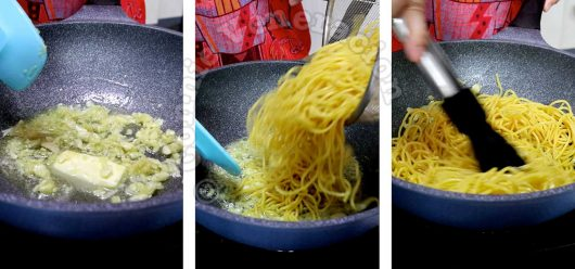 Sauteing garlic and tossing in egg noodles