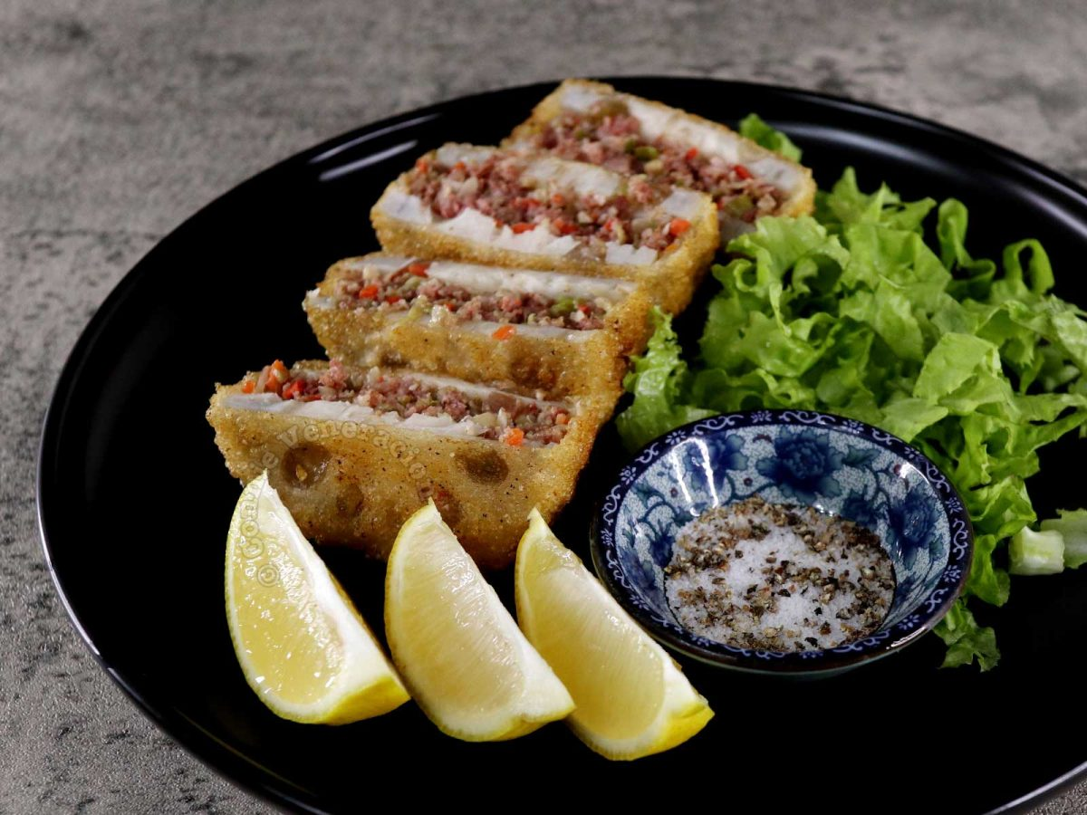 Crispy Stuffed Lotus Root (Renkon Hasami-age) Served with Lemon Wedges and Salt