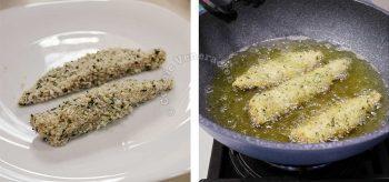 Frying fish katsu