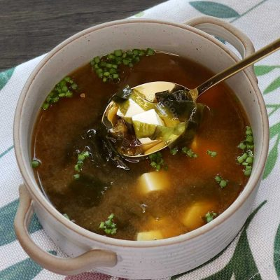 Home cooked miso soup with wakame and soft tofu