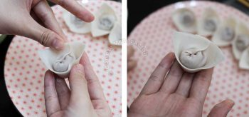 Wrapping wontons, bonnet-style: sealing the edges