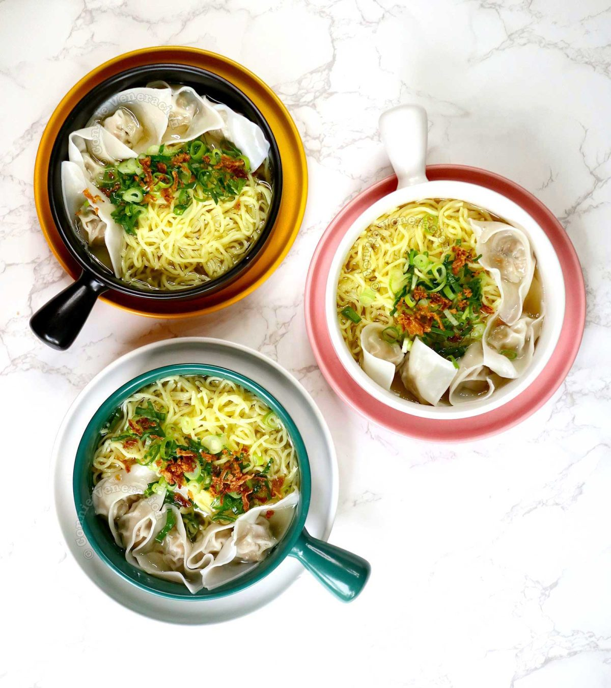 Chicken Wonton Noodle Soup for Three