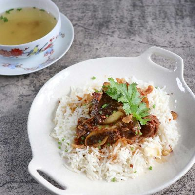 Filipino beef pares with broth on the side