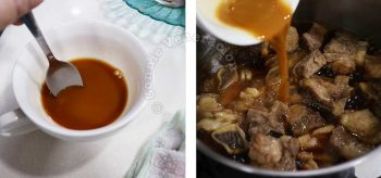 Thickening beef pares sauce with starch