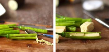 Stuffing chilies with cheese