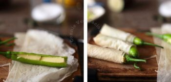 Wrapping cheese-stuffed chilies with spring roll wrapper