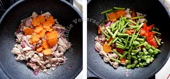 Adding carrot, asparagus, bell peppers to chicken to make chop suey