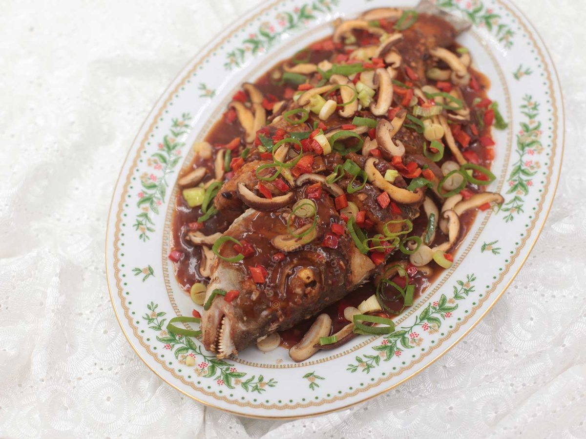 Fried Whole Fish With Black Beans, Shiitake and Chili Sauce