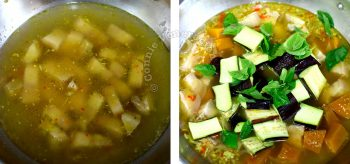 Adding broth, pork and vegetables to spices to make gaeng om