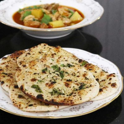 Garlic naan on a plate