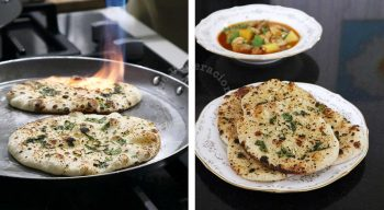 Scorching the top of garlic naan with a kitchen torch