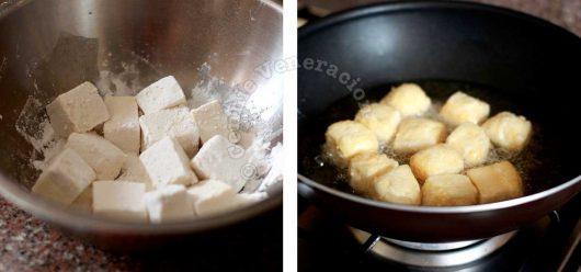 Frying silken tofu