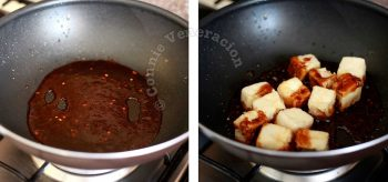 Tossing fried tofu in sweet spicy soy sauce