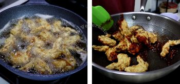 Coating fried chicken with sweet-spicy Korean sauce
