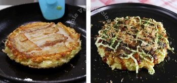 Okonomiyaki topped with crisp pork belly, drizzled with Japanese mayo and sauce, and sprinkled with aonori